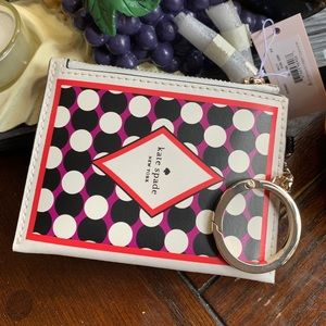 Authentic Kate Spade leather zip card cs/keychain